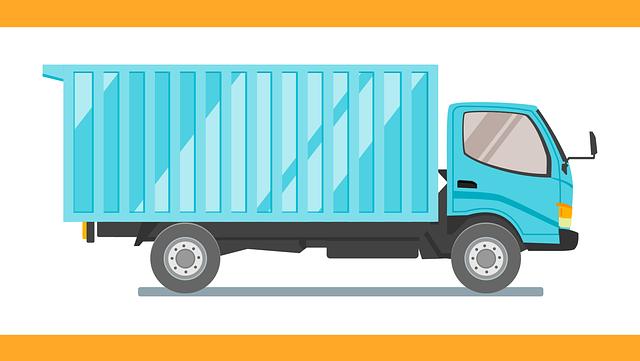 animovaný modrý náklaďák